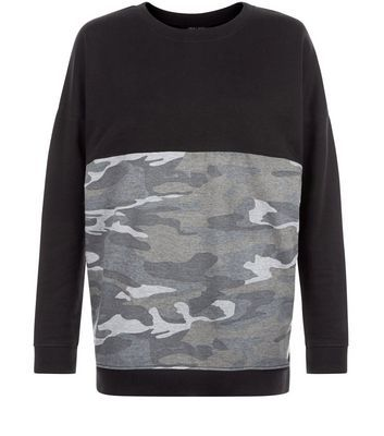 Black Colour Block Camo Print Panel Sweater - style: standard; secondary colour: mid grey; predominant colour: black; occasions: casual; length: standard; fibres: polyester/polyamide - mix; fit: loose; neckline: crew; sleeve length: long sleeve; sleeve style: standard; pattern type: fabric; texture group: jersey - stretchy/drapey; pattern: camouflage; multicoloured: multicoloured; season: s/s 2016; wardrobe: highlight