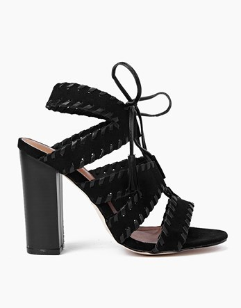 Stitch Detail Lace Block Heels - predominant colour: black; occasions: evening; material: faux leather; ankle detail: ankle tie; heel: block; toe: open toe/peeptoe; style: strappy; finish: plain; pattern: plain; heel height: very high; season: s/s 2016