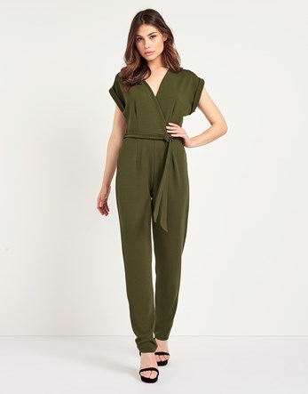 Wrap Front Jumpsuit - length: standard; neckline: v-neck; pattern: plain; hip detail: fitted at hip; waist detail: belted waist/tie at waist/drawstring; predominant colour: khaki; occasions: evening; fit: body skimming; fibres: polyester/polyamide - stretch; sleeve length: short sleeve; sleeve style: standard; style: jumpsuit; pattern type: fabric; texture group: jersey - stretchy/drapey; season: s/s 2016; wardrobe: event