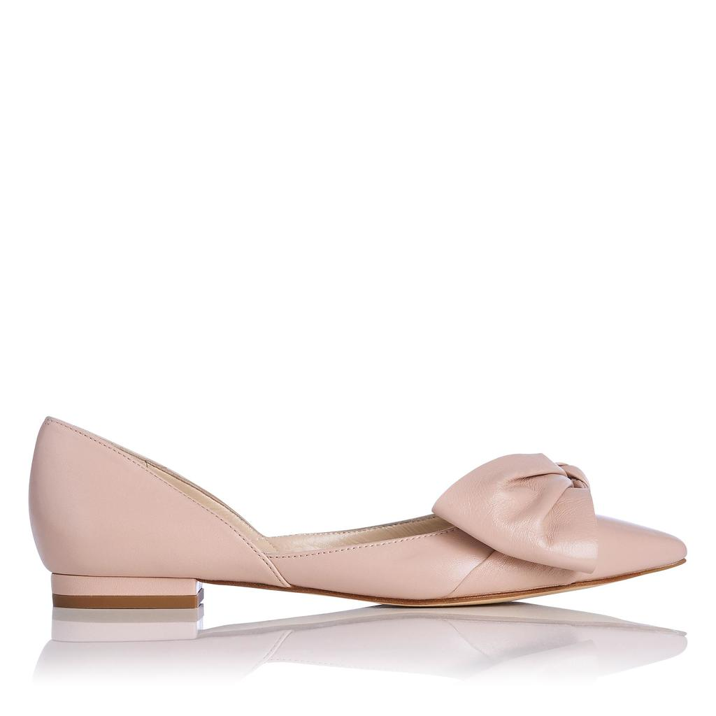 Clio Pink Leather Flats - predominant colour: blush; occasions: casual; material: leather; heel height: flat; toe: pointed toe; style: ballerinas / pumps; finish: patent; pattern: plain; embellishment: bow; season: s/s 2016; wardrobe: basic