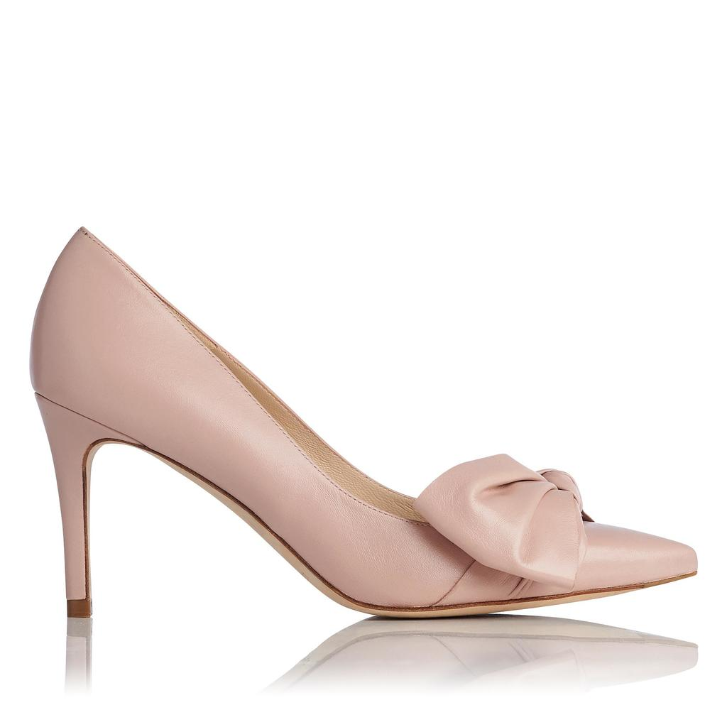 Caitlyn Marshmallow Pointed Courts - predominant colour: blush; occasions: evening; material: leather; heel height: high; heel: stiletto; toe: pointed toe; style: courts; finish: patent; pattern: plain; embellishment: bow; season: s/s 2016; wardrobe: event