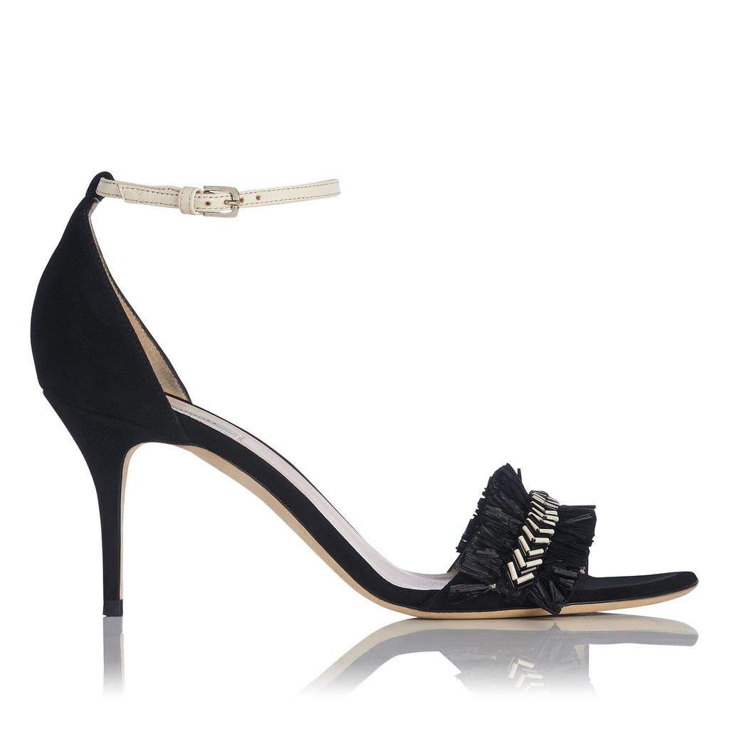 Milla Black Raffia Sandals Black - predominant colour: black; occasions: evening; material: leather; heel height: high; ankle detail: ankle strap; heel: stiletto; toe: open toe/peeptoe; style: standard; finish: plain; pattern: plain; embellishment: chain/metal; season: s/s 2016; wardrobe: event