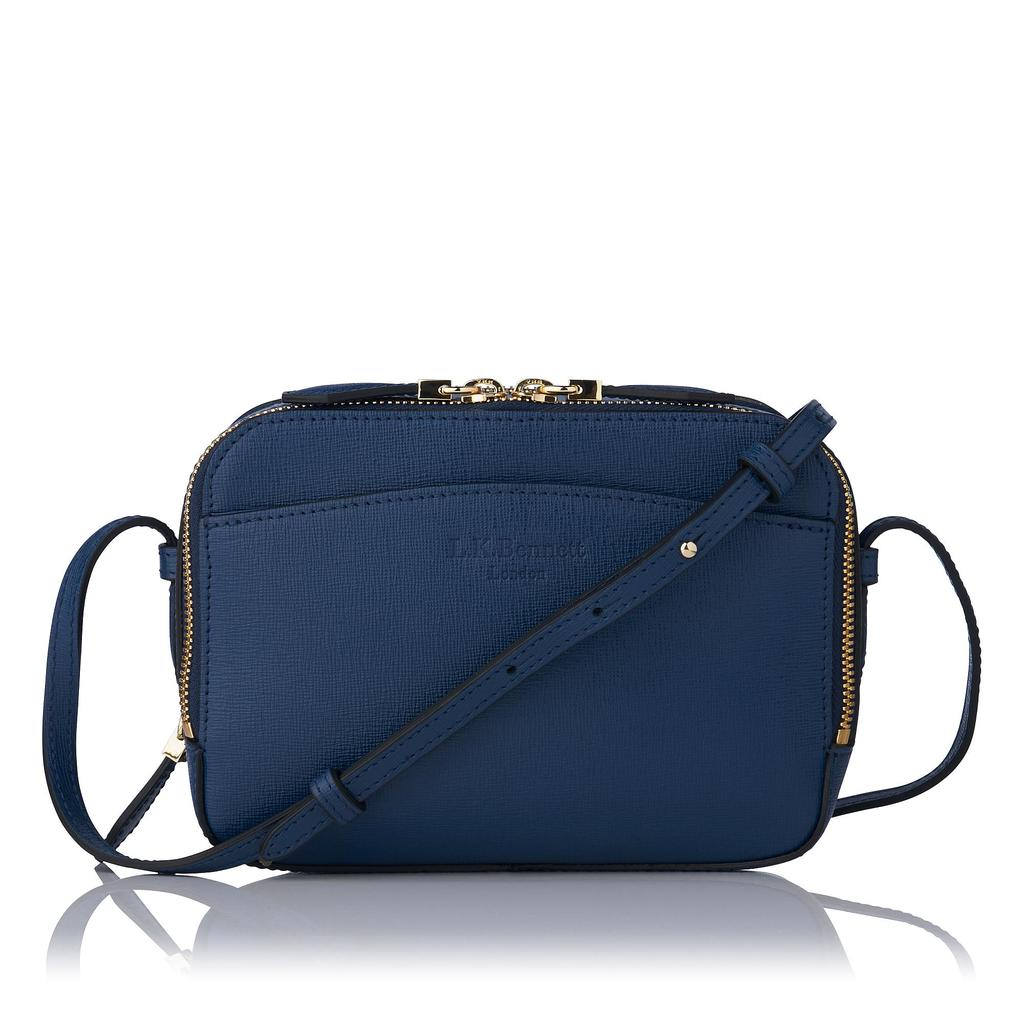 Mariel Navy Saffiano Crossbody Bag Blue Navy - predominant colour: navy; occasions: casual, creative work; type of pattern: standard; style: shoulder; length: shoulder (tucks under arm); size: small; material: suede; pattern: plain; finish: plain; season: s/s 2016; wardrobe: investment