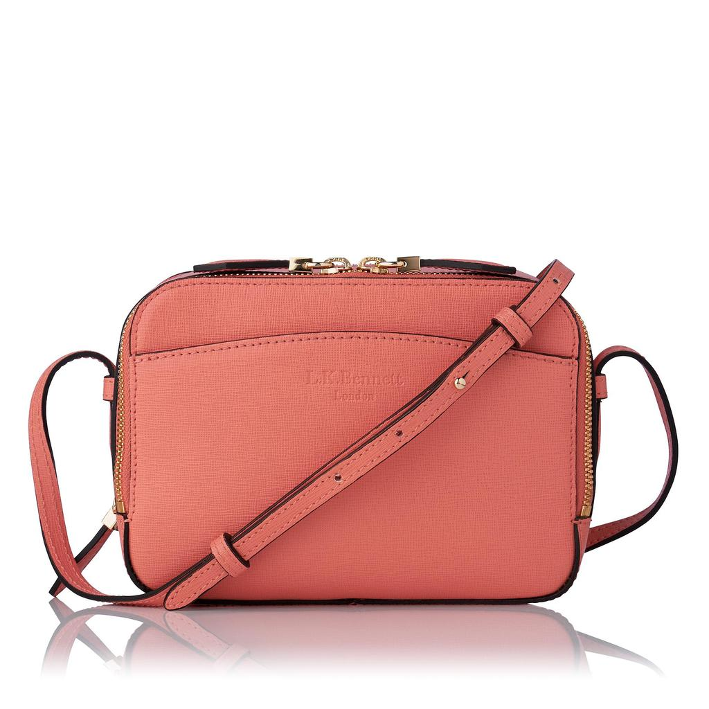 Mariel Coral Saffiano Crossbody Bag Pink Coral - predominant colour: coral; occasions: casual, creative work; type of pattern: standard; style: tote; length: shoulder (tucks under arm); size: small; material: leather; pattern: plain; finish: plain; season: s/s 2016; wardrobe: highlight
