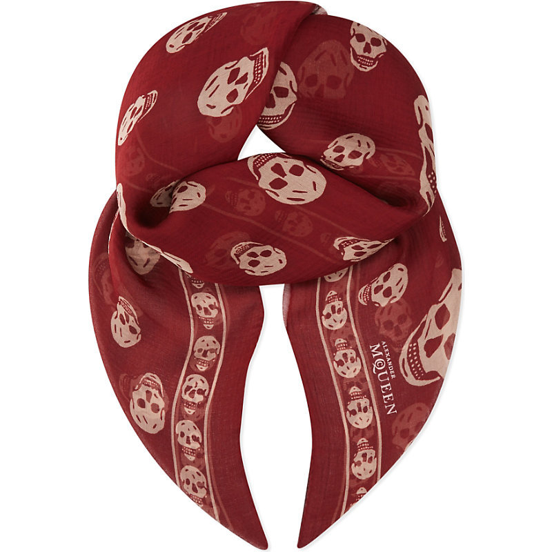 Skull Print Silk Chiffon Scarf, Women's, Maroon/Beige - predominant colour: true red; occasions: casual; type of pattern: heavy; style: square; size: large; material: silk; pattern: patterned/print; season: s/s 2016; wardrobe: highlight
