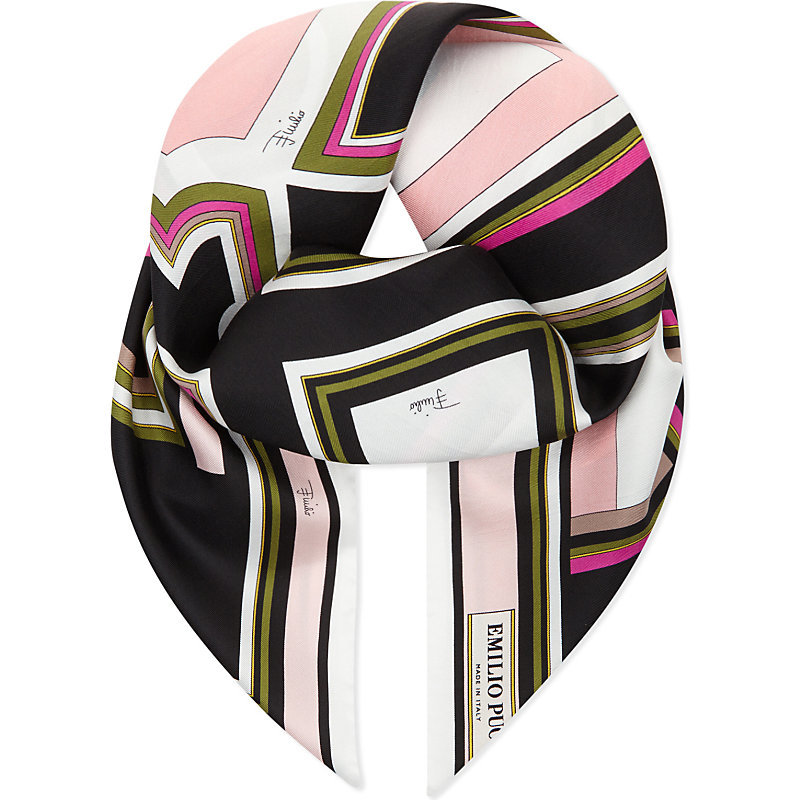 Mono Silk Scarf, Women's, Black - secondary colour: white; predominant colour: black; occasions: casual; type of pattern: heavy; style: square; size: standard; material: silk; pattern: patterned/print; multicoloured: multicoloured; season: s/s 2016