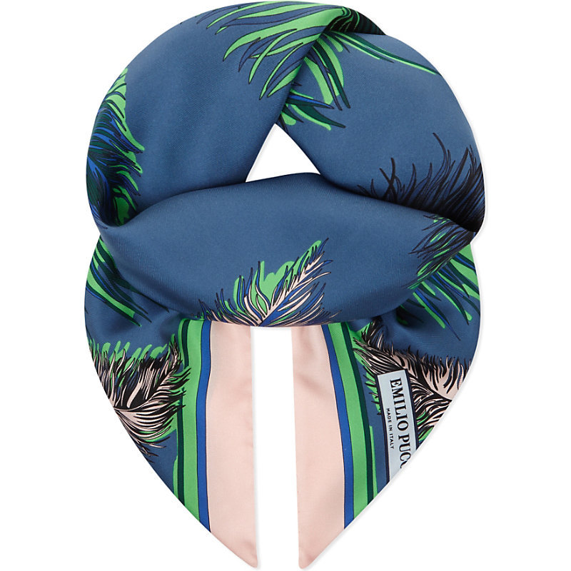 Feather Silk Scarf, Women's, Green - predominant colour: royal blue; occasions: casual; type of pattern: heavy; style: square; size: standard; material: silk; pattern: patterned/print; multicoloured: multicoloured; season: s/s 2016