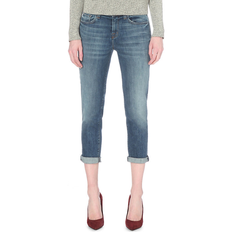 Sadey Slim Straight Mid Rise Jeans, Women's, Old Rose - style: skinny leg; pattern: plain; pocket detail: traditional 5 pocket; waist: mid/regular rise; predominant colour: denim; occasions: casual; length: calf length; fibres: cotton - stretch; jeans detail: whiskering, shading down centre of thigh; jeans & bottoms detail: turn ups; texture group: denim; pattern type: fabric; season: s/s 2016; wardrobe: basic
