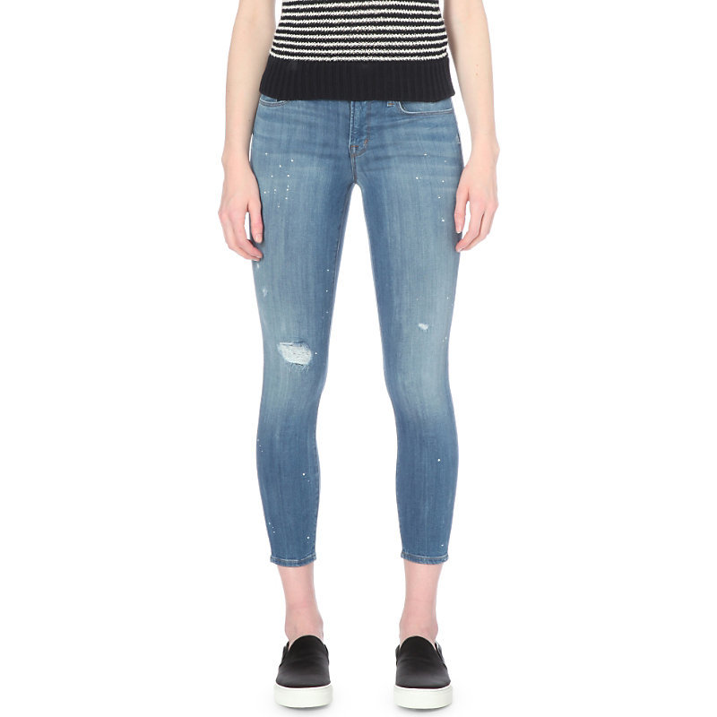 Mr Capri Skinny Cropped Mid Rise Jeans, Women's, Collision - style: skinny leg; pattern: plain; pocket detail: traditional 5 pocket; waist: mid/regular rise; predominant colour: denim; occasions: casual; length: calf length; fibres: cotton - stretch; jeans detail: shading down centre of thigh; texture group: denim; pattern type: fabric; season: s/s 2016; wardrobe: basic