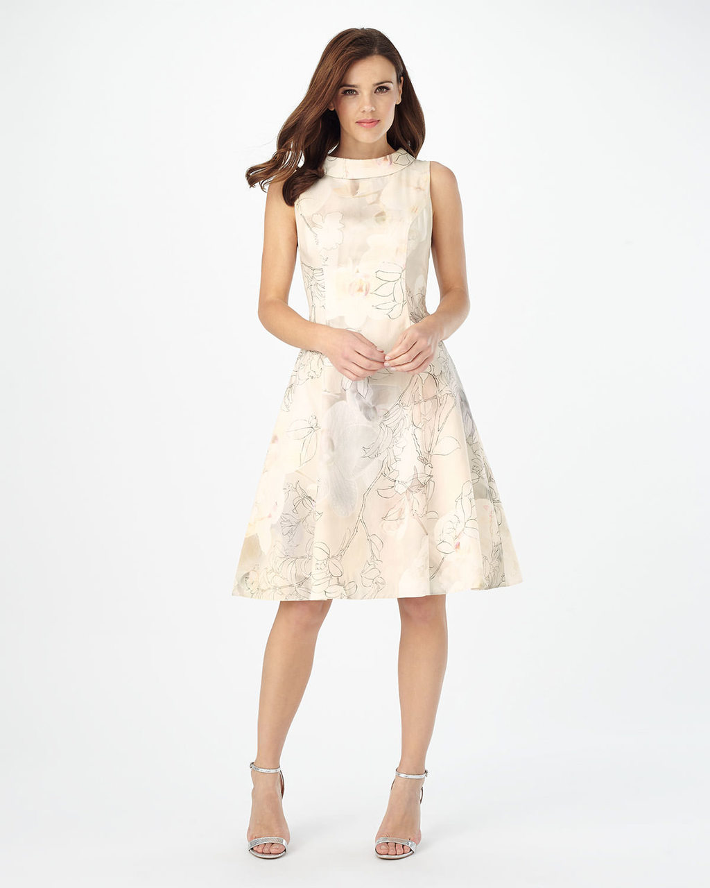 Kirsty Floral Print Dress - sleeve style: sleeveless; neckline: high neck; predominant colour: ivory/cream; occasions: evening; length: on the knee; fit: fitted at waist & bust; style: fit & flare; fibres: cotton - 100%; sleeve length: sleeveless; pattern type: fabric; pattern: florals; texture group: brocade/jacquard; season: s/s 2016; wardrobe: event