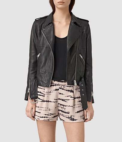 Routledge Leather Biker Jacket - pattern: plain; style: biker; collar: asymmetric biker; predominant colour: black; occasions: casual, creative work; fit: straight cut (boxy); fibres: leather - 100%; sleeve length: long sleeve; sleeve style: standard; texture group: leather; collar break: medium; pattern type: fabric; length: cropped; season: s/s 2016; wardrobe: basic