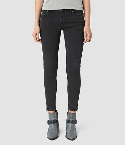 Mast Ankle Zip Jeans - style: skinny leg; pattern: plain; waist: low rise; predominant colour: black; occasions: casual, creative work; length: ankle length; fibres: cotton - stretch; jeans detail: dark wash; texture group: denim; pattern type: fabric; season: s/s 2016