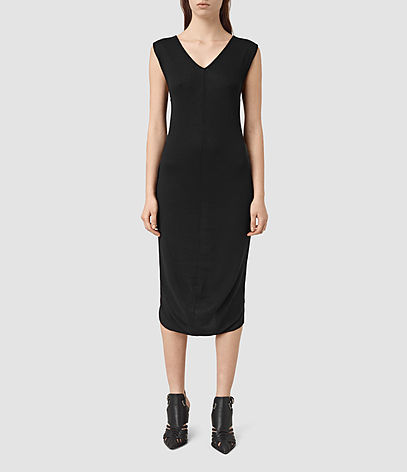 Ero Maxi Dress - style: shift; length: below the knee; neckline: v-neck; fit: tailored/fitted; pattern: plain; sleeve style: sleeveless; predominant colour: black; occasions: evening; fibres: cotton - mix; sleeve length: sleeveless; pattern type: fabric; texture group: other - light to midweight; season: s/s 2016; wardrobe: event