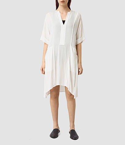 Flo Dress - neckline: v-neck; pattern: plain; predominant colour: ivory/cream; occasions: casual; length: just above the knee; fit: body skimming; style: asymmetric (hem); fibres: viscose/rayon - 100%; sleeve length: half sleeve; sleeve style: standard; texture group: cotton feel fabrics; pattern type: fabric; season: s/s 2016; wardrobe: basic