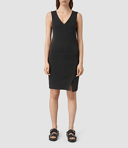 Rassa Dress - style: shift; neckline: low v-neck; fit: tailored/fitted; pattern: plain; sleeve style: sleeveless; predominant colour: black; occasions: evening; length: just above the knee; fibres: cotton - 100%; sleeve length: sleeveless; pattern type: fabric; texture group: other - light to midweight; season: s/s 2016; wardrobe: event