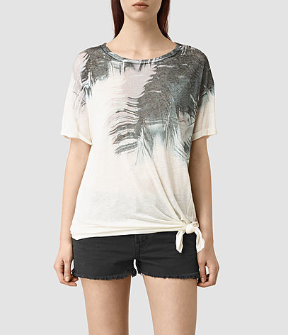 Guinea Heny T Shirt - neckline: round neck; style: t-shirt; predominant colour: ivory/cream; secondary colour: charcoal; occasions: casual; length: standard; fibres: linen - mix; fit: body skimming; sleeve length: short sleeve; sleeve style: standard; pattern type: fabric; pattern size: standard; pattern: patterned/print; texture group: jersey - stretchy/drapey; season: s/s 2016; wardrobe: highlight