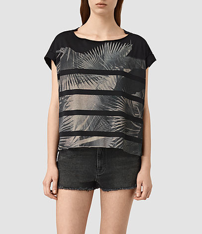Java Pina Tee - style: t-shirt; secondary colour: stone; predominant colour: black; occasions: casual; length: standard; fibres: cotton - mix; fit: loose; neckline: crew; sleeve length: short sleeve; sleeve style: standard; pattern type: fabric; pattern: florals; texture group: jersey - stretchy/drapey; pattern size: big & busy (top); multicoloured: multicoloured; season: s/s 2016; wardrobe: highlight