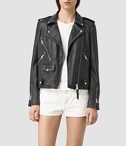 Vettese Studded Leather Biker Jacket - pattern: plain; style: biker; collar: asymmetric biker; secondary colour: silver; predominant colour: black; occasions: casual, creative work; length: standard; fit: straight cut (boxy); fibres: leather - 100%; sleeve length: long sleeve; sleeve style: standard; texture group: leather; collar break: medium; pattern type: fabric; embellishment: studs; season: s/s 2016; wardrobe: highlight