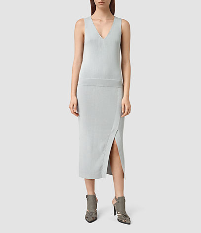 Rassa Long Dress - style: shift; length: calf length; neckline: low v-neck; pattern: plain; sleeve style: sleeveless; predominant colour: light grey; occasions: evening; fit: body skimming; fibres: cotton - 100%; sleeve length: sleeveless; pattern type: fabric; texture group: other - light to midweight; season: s/s 2016; wardrobe: event