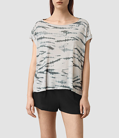 Pina Tye Tee - neckline: round neck; style: t-shirt; secondary colour: charcoal; predominant colour: light grey; occasions: casual; length: standard; fibres: cotton - 100%; fit: loose; sleeve length: short sleeve; sleeve style: standard; pattern type: fabric; pattern: animal print; texture group: jersey - stretchy/drapey; multicoloured: multicoloured; season: s/s 2016; wardrobe: highlight