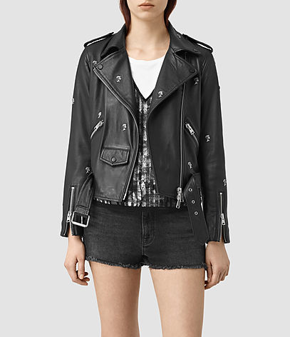 Eaves Leather Stud Biker Jacket - pattern: plain; style: biker; collar: asymmetric biker; predominant colour: black; occasions: casual, creative work; length: standard; fit: straight cut (boxy); fibres: leather - 100%; sleeve length: long sleeve; sleeve style: standard; texture group: leather; collar break: low/open; pattern type: fabric; season: s/s 2016; wardrobe: basic