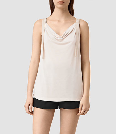 Carli Top - neckline: cowl/draped neck; sleeve style: spaghetti straps; pattern: plain; style: vest top; predominant colour: ivory/cream; occasions: evening, creative work; length: standard; fibres: viscose/rayon - 100%; fit: body skimming; sleeve length: sleeveless; pattern type: fabric; texture group: jersey - stretchy/drapey; season: s/s 2016; wardrobe: basic