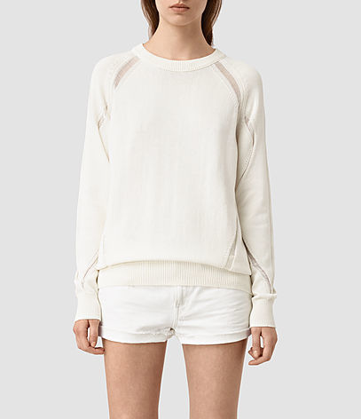 Lanta Jumper - pattern: plain; style: standard; predominant colour: ivory/cream; occasions: casual, creative work; length: standard; fibres: cotton - 100%; fit: standard fit; neckline: crew; sleeve length: long sleeve; sleeve style: standard; pattern type: fabric; texture group: other - light to midweight; season: s/s 2016; wardrobe: highlight