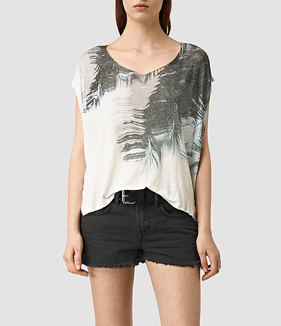 Guinea Mist Tee - neckline: v-neck; style: t-shirt; predominant colour: white; secondary colour: charcoal; occasions: casual; length: standard; fit: loose; sleeve length: short sleeve; sleeve style: standard; pattern type: fabric; pattern: florals; texture group: jersey - stretchy/drapey; fibres: viscose/rayon - mix; pattern size: big & busy (top); multicoloured: multicoloured; season: s/s 2016; wardrobe: highlight