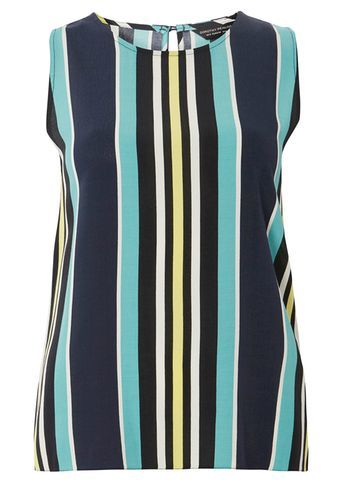 Womens Multi Stripe Zip Top Blue - neckline: round neck; pattern: vertical stripes; sleeve style: sleeveless; length: below the bottom; predominant colour: navy; secondary colour: turquoise; occasions: casual, creative work; style: top; fibres: viscose/rayon - 100%; fit: body skimming; sleeve length: sleeveless; pattern type: fabric; pattern size: standard; texture group: jersey - stretchy/drapey; multicoloured: multicoloured; season: s/s 2016