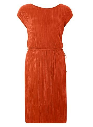 Womens Orange Plisse Midi Dress Orange - style: shift; length: calf length; pattern: plain; waist detail: belted waist/tie at waist/drawstring; predominant colour: bright orange; occasions: evening; fit: body skimming; fibres: polyester/polyamide - 100%; neckline: crew; sleeve length: short sleeve; sleeve style: standard; texture group: silky - light; pattern type: fabric; season: s/s 2016