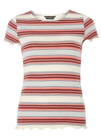 Womens Red Stripe Ruffle Tee Red - pattern: horizontal stripes; style: t-shirt; predominant colour: white; secondary colour: pink; occasions: casual; length: standard; fibres: cotton - mix; fit: body skimming; neckline: crew; sleeve length: short sleeve; sleeve style: standard; pattern type: fabric; texture group: jersey - stretchy/drapey; multicoloured: multicoloured; season: s/s 2016; wardrobe: highlight