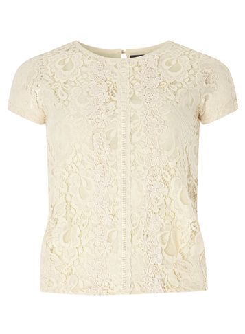 Womens **Tenki Cream Laced Elastic Waist Top Cream - predominant colour: ivory/cream; occasions: evening; length: standard; style: top; fibres: nylon - 100%; fit: body skimming; neckline: crew; back detail: keyhole/peephole detail at back; sleeve length: short sleeve; sleeve style: standard; texture group: lace; pattern type: fabric; pattern size: standard; pattern: patterned/print; season: s/s 2016; wardrobe: event