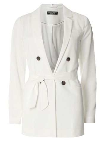 Womens White Wrap Long Sleeve Jacket White - pattern: plain; style: belted jacket; length: below the bottom; collar: standard lapel/rever collar; predominant colour: ivory/cream; fit: straight cut (boxy); fibres: polyester/polyamide - 100%; waist detail: belted waist/tie at waist/drawstring; sleeve length: long sleeve; sleeve style: standard; collar break: low/open; pattern type: fabric; texture group: woven light midweight; occasions: creative work; season: s/s 2016