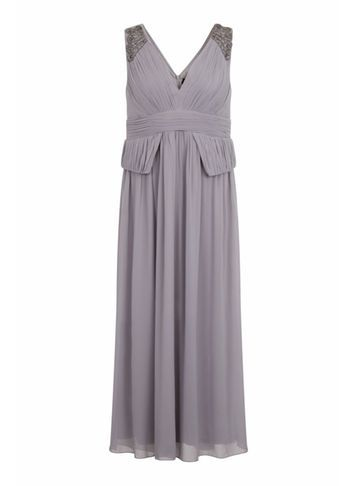 Womens **Little Mistress Curve Grey Plunge Maxi Dress Grey - neckline: low v-neck; fit: fitted at waist; pattern: plain; sleeve style: sleeveless; style: maxi dress; length: ankle length; predominant colour: mid grey; fibres: polyester/polyamide - 100%; occasions: occasion; sleeve length: sleeveless; texture group: sheer fabrics/chiffon/organza etc.; pattern type: fabric; embellishment: beading; season: s/s 2016