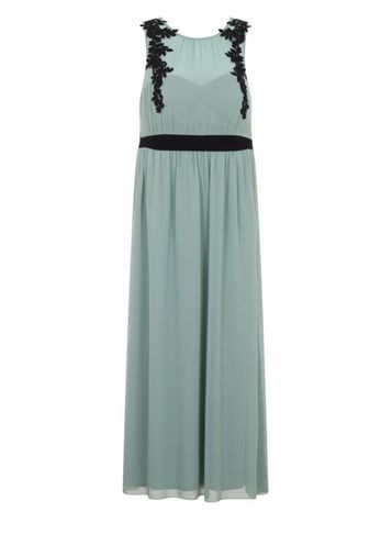 Womens **Little Mistress Curve Sage Embellished Maxi Dress Green - pattern: plain; sleeve style: sleeveless; style: maxi dress; length: ankle length; predominant colour: pistachio; secondary colour: black; occasions: evening; fit: body skimming; fibres: polyester/polyamide - 100%; neckline: crew; sleeve length: sleeveless; texture group: sheer fabrics/chiffon/organza etc.; pattern type: fabric; embellishment: embroidered; multicoloured: multicoloured; season: s/s 2016; wardrobe: event