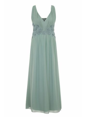 Womens **Little Mistress Curve Sage Lace Waist Maxi Dress Green - neckline: v-neck; pattern: plain; sleeve style: sleeveless; style: maxi dress; predominant colour: pistachio; occasions: evening; length: floor length; fit: body skimming; fibres: polyester/polyamide - 100%; sleeve length: sleeveless; texture group: sheer fabrics/chiffon/organza etc.; pattern type: fabric; season: s/s 2016