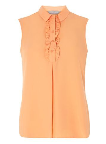 Womens Petite Peach Sleeveless Shirt Pink - neckline: shirt collar/peter pan/zip with opening; pattern: plain; sleeve style: sleeveless; style: shirt; predominant colour: coral; occasions: casual; length: standard; fibres: polyester/polyamide - 100%; fit: body skimming; sleeve length: sleeveless; texture group: sheer fabrics/chiffon/organza etc.; bust detail: tiers/frills/bulky drapes/pleats; pattern type: fabric; season: s/s 2016