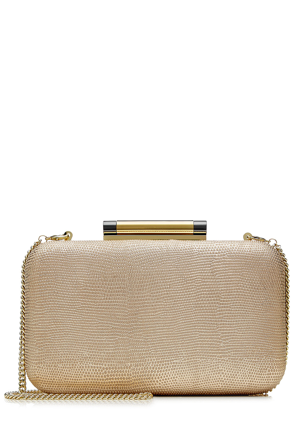 Shimmer Lizard Embossed Leather Slim Tonda Minaudiere Gold - predominant colour: gold; occasions: evening, occasion; type of pattern: standard; style: clutch; length: hand carry; size: small; material: leather; pattern: plain; finish: metallic; season: s/s 2016; wardrobe: event