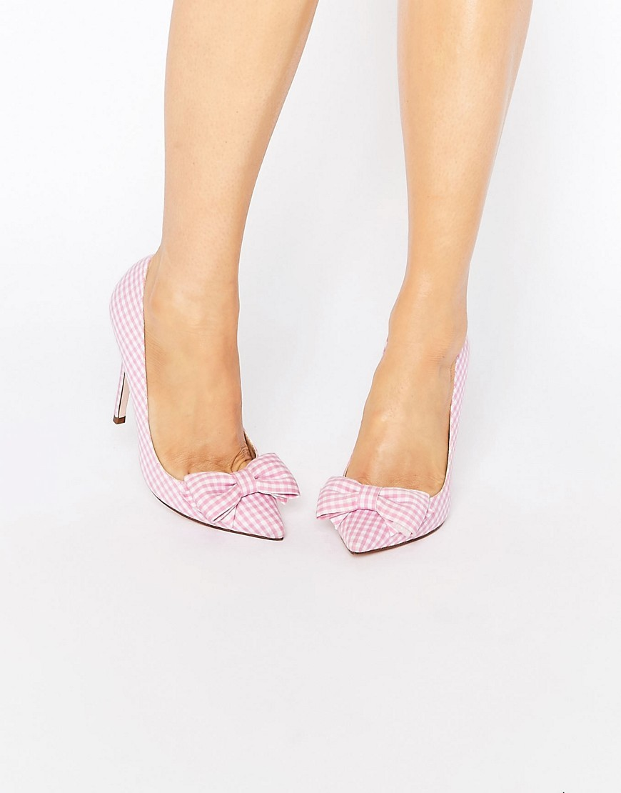 Pimlico Pointed High Heels Pink Gingham - secondary colour: white; predominant colour: blush; occasions: evening, creative work; material: fabric; heel height: high; heel: stiletto; toe: pointed toe; style: courts; finish: plain; pattern: checked/gingham; embellishment: bow; season: s/s 2016; wardrobe: highlight