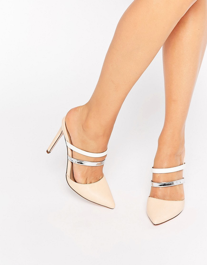 Platoon Pointed Mules Multi - predominant colour: nude; secondary colour: silver; occasions: evening, occasion; material: faux leather; heel height: high; heel: stiletto; toe: pointed toe; style: mules; finish: plain; pattern: colourblock; season: s/s 2016; wardrobe: event