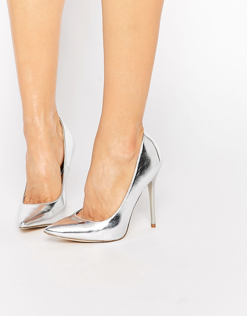 Josie Silver Court Shoes Silver - predominant colour: silver; occasions: evening, occasion; material: faux leather; heel height: high; heel: stiletto; toe: pointed toe; style: courts; finish: metallic; pattern: plain; season: s/s 2016; wardrobe: event