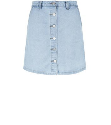 Light Blue Button Front Denim A Line Skirt - length: mini; pattern: plain; fit: body skimming; waist: high rise; predominant colour: denim; occasions: casual; style: mini skirt; fibres: cotton - stretch; texture group: denim; pattern type: fabric; season: s/s 2016; wardrobe: basic
