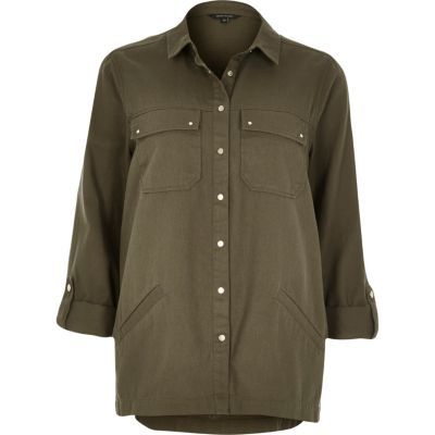 Womens Khaki Woven Shirt - neckline: shirt collar/peter pan/zip with opening; pattern: plain; style: shirt; predominant colour: khaki; occasions: casual; length: standard; fibres: cotton - 100%; fit: body skimming; sleeve length: long sleeve; sleeve style: standard; texture group: cotton feel fabrics; pattern type: fabric; season: s/s 2016; wardrobe: basic