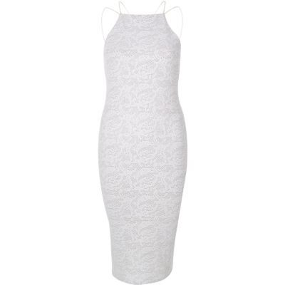 Womens White Sparkle Cami Dress - neckline: high square neck; sleeve style: spaghetti straps; fit: tight; pattern: plain; style: bodycon; predominant colour: light grey; occasions: evening; length: on the knee; fibres: polyester/polyamide - stretch; sleeve length: sleeveless; texture group: jersey - clingy; pattern type: fabric; season: s/s 2016