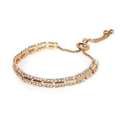 Womens Gold Tone Diamanté Bracelet - predominant colour: gold; occasions: evening, occasion; style: bangle/standard; size: standard; material: chain/metal; finish: metallic; embellishment: crystals/glass; season: s/s 2016; wardrobe: event