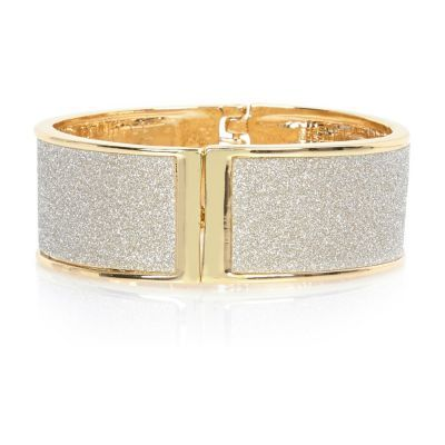 Womens Gold Tone Glitter Clamp Cuff - secondary colour: silver; predominant colour: gold; occasions: evening, occasion; style: cuff; size: large/oversized; material: chain/metal; finish: metallic; embellishment: glitter; season: s/s 2016; wardrobe: event