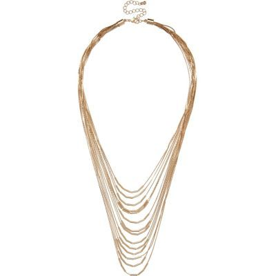 Womens Gold Tone Layered Chain Necklace - predominant colour: gold; occasions: evening, occasion; style: multistrand; length: long; size: large/oversized; material: chain/metal; finish: metallic; season: s/s 2016; wardrobe: event
