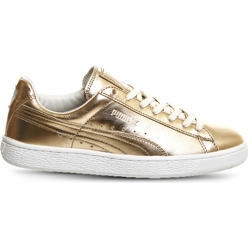 Basket Classic Metallic Leather Trainers, Women's, Porcelain Rose White - secondary colour: white; predominant colour: gold; occasions: casual; material: leather; heel height: flat; toe: round toe; style: trainers; finish: metallic; pattern: plain; shoe detail: moulded soul; season: s/s 2016; wardrobe: highlight