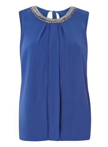 Womens Blue Bubble Hem Embellished Top Blue - pattern: plain; sleeve style: sleeveless; style: vest top; predominant colour: royal blue; secondary colour: silver; occasions: evening; length: standard; fibres: polyester/polyamide - 100%; fit: body skimming; neckline: crew; sleeve length: sleeveless; texture group: crepes; pattern type: fabric; embellishment: crystals/glass; season: s/s 2016; wardrobe: event; embellishment location: bust