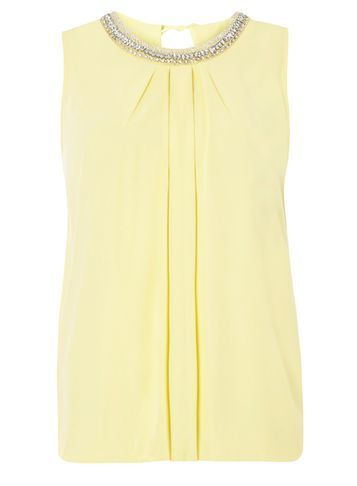 Womens Lemon Bubble Hem Embellished Top Yellow - pattern: plain; sleeve style: sleeveless; style: vest top; predominant colour: primrose yellow; secondary colour: silver; occasions: evening; length: standard; fibres: polyester/polyamide - 100%; fit: body skimming; neckline: crew; sleeve length: sleeveless; texture group: crepes; pattern type: fabric; embellishment: crystals/glass; season: s/s 2016; wardrobe: event; embellishment location: bust